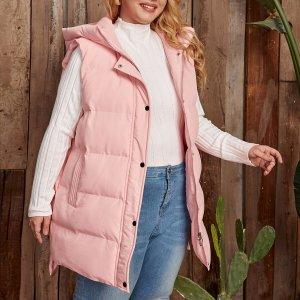 Утепленный жилет с капюшоном размера плюс SHEIN. Цвет: розовые