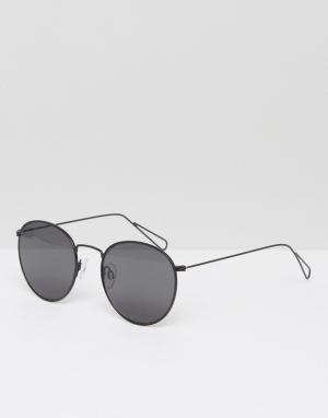 Солнцезащитные очки в круглой оправе Explore-Черный Weekday