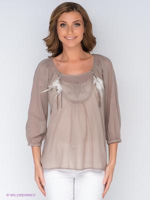 Блузка Cream. Цвет: серо-коричневый