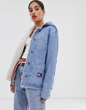 Джинсовая куртка с подкладкой из искусственного меха -Синий Tommy Jeans