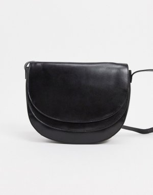Черная кожаная сумка через плечо с двойным клапаном -Черный Urbancode