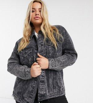 Черная джинсовая oversized-куртка New Look Curve-Черный Plus