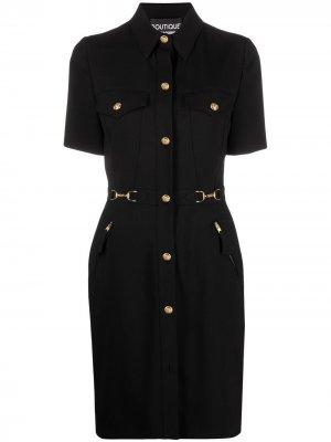 Платье-рубашка с короткими рукавами Boutique Moschino. Цвет: черный