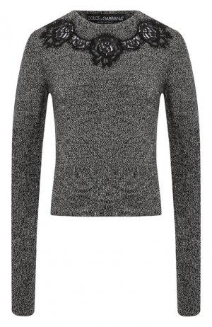 Пуловер из смеси кашемира и хлопка Dolce & Gabbana. Цвет: темно-серый