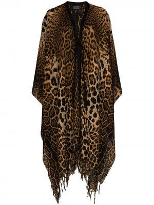 Кейп с леопардовым принтом Saint Laurent. Цвет: коричневый