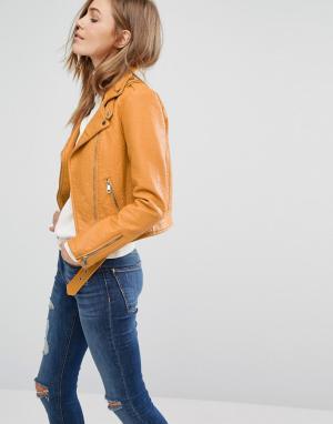 Куртка в кожаном стиле Pimkie. Цвет: желтый