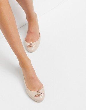 Розовые туфли на плоской подошве с логотипом -Бежевый Vivienne Westwood for Melissa