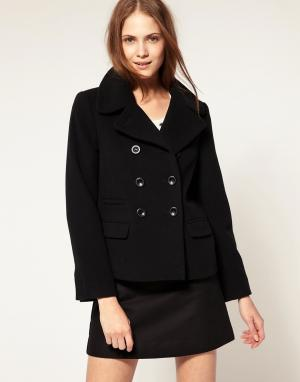 Шерстяное пальто-бушлат Boutique By Jaeger. Цвет: черный