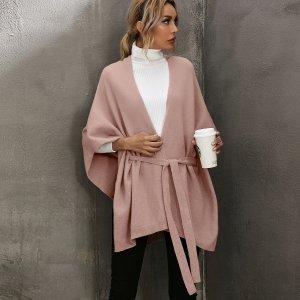 Кейп с поясом SHEIN. Цвет: пыльный розовый