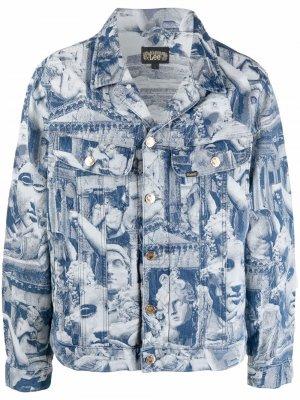 Джинсовая куртка с принтом Aries. Цвет: синий