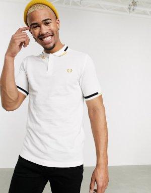 Белая футболка-поло с контрастной отделкой -Белый Fred Perry