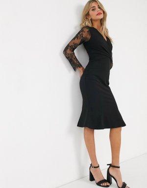 Черное платье-футляр с кружевными рукавами и глубоким вырезом -Черный Lipsy