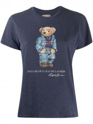 Polo Bear-print cotton T-shirt Ralph Lauren. Цвет: синий