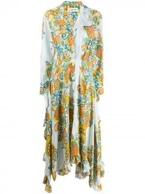 Длинное платье с принтом LANVIN. Цвет: синий