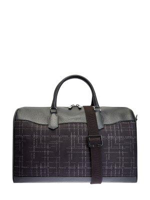Дорожная сумка из крупнозернистой кожи и нейлона CANALI. Цвет: черный