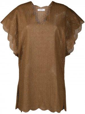 Платье с перфорацией Marysia. Цвет: коричневый