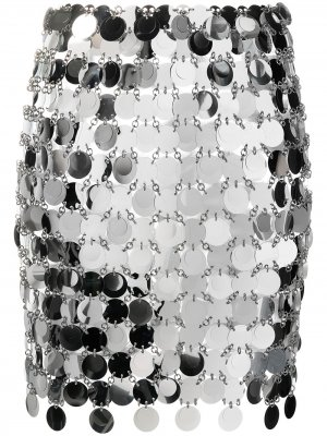 Мини-юбка из пайеток Paco Rabanne. Цвет: серебристый