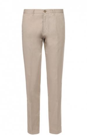 Хлопковые брюки прямого кроя BOSS. Цвет: бежевый