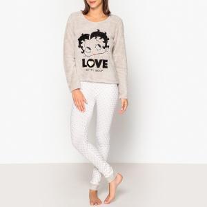 Пижама с длинными рукавами Betty Boop. Цвет: белый + светло-серый