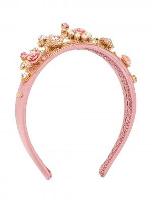 Декорированный ободок с кристаллами Dolce & Gabbana Kids. Цвет: розовый