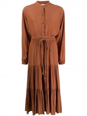 Платье-рубашка длины миди с завязками A.L.C.. Цвет: коричневый