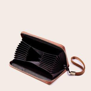 Мужской длинный кошелек с текстовым узором SHEIN. Цвет: коричневые