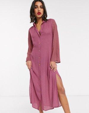 Розовое платье-рубашка с завязкой Closet-Розовый Closet London