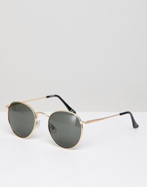 Круглые солнцезащитные очки с золотистой металлической оправой и затемненными стеклами -Золотой ASOS DESIGN