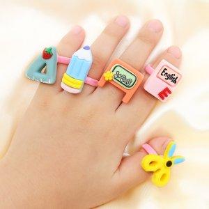 5шт Открытое кольцо с мультипликационным декором для девочек SHEIN. Цвет: многоцветный
