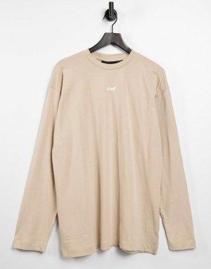 Светло-бежевое платье-футболка с длинными рукавами -Нейтральный Criminal Damage
