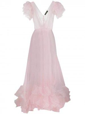 Длинное платье с оборками Jenny Packham. Цвет: розовый