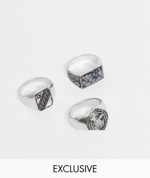 Набор колец с камнем и в виде печатки Inspired-Серебристый Reclaimed Vintage