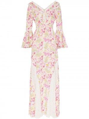 Платье макси с цветочным узором и кружевом byTiMo. Цвет: разноцветный