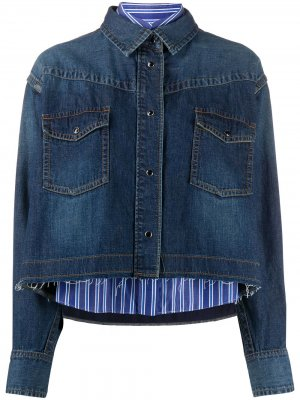 Укороченная джинсовая куртка Sacai. Цвет: синий