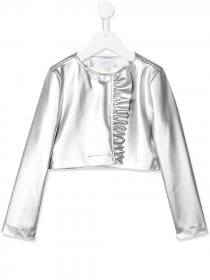 Faux-leather ruffled jacket Aletta. Цвет: серебристый