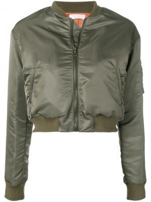 Укороченная куртка-бомбер John Elliott. Цвет: зеленый