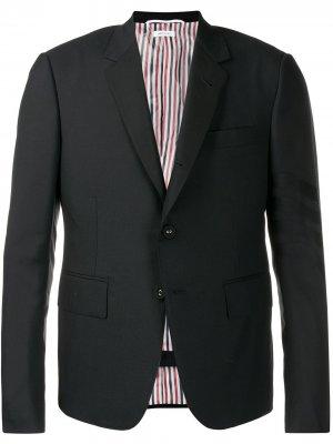 Однотонный костюм с полосками 4-Bar Thom Browne. Цвет: черный