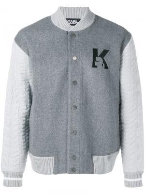 Куртка-бомбер K Karl Lagerfeld. Цвет: серый
