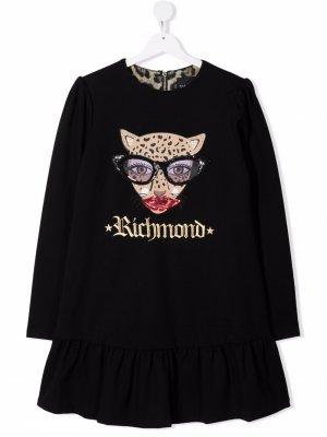 TEEN embroidered-logo long-sleeved dress John Richmond Junior. Цвет: черный