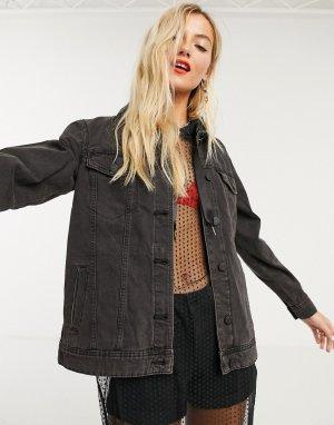 Черная джинсовая oversize-куртка -Черный цвет Noisy May
