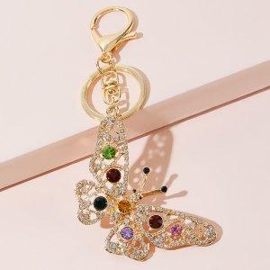 Брелок с подвеской бабочки SHEIN. Цвет: золотистый