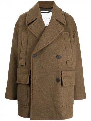 Двубортное пальто оверсайз Wooyoungmi. Цвет: зеленый