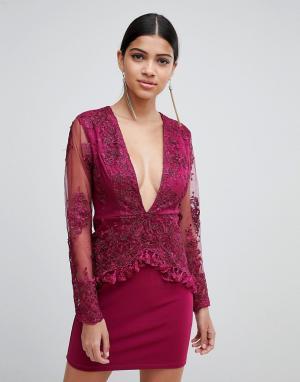 Платье с длинными рукавами, кружевной отделкой и кисточками Love Triangle