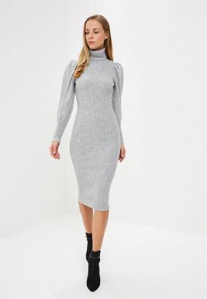 Платье LOST INK VOLUME SLEEVE PENCIL DRESS. Цвет: серый