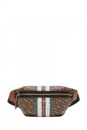 Поясная сумка с монограммами и полосками Burberry. Цвет: коричневый