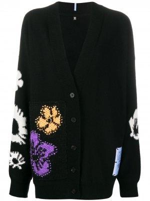 Кардиган Genesis с цветочной вышивкой McQ Swallow. Цвет: черный