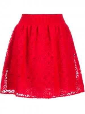 Многослойная юбка Alberta Ferretti. Цвет: красный