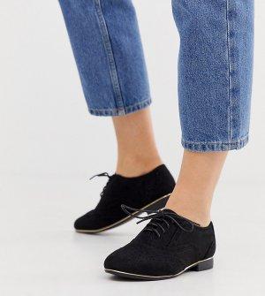 Черные полиуретановые броги для широкой стопы New Look-Черный Look Wide Fit