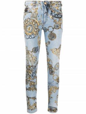 Джинсы скинни с графичным принтом Versace Jeans Couture. Цвет: синий