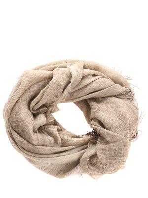 Льняной платок с бахромой LES COPAINS. Цвет: бежевый
